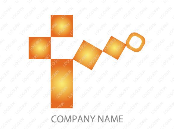 アルファベットT・十字・暖色系、シンプルなデザインのロゴマーク